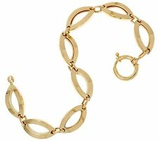 All Shiny Marquise Link Bracelet with Spring Clasp Real 14K Yellow Gold  QVC