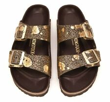 Birkenstock Sandals Arizona Hex Spotted Metallic Brown gold leather narrow fit