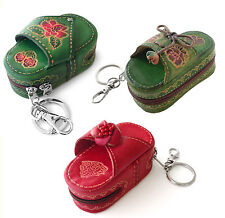 Floral GREEN RED Sandal Flip Flop Embossed Leather Zipper Clip On Key Chain