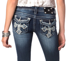Miss Me Smudged Cross boot cut jeans thick stitch, rhinestones NWT sz. 25, 29