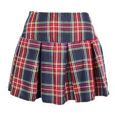 Womens Sexy Schoolgirl Skirt Navy Red Plaid Pleated Naughty Britney Costume S-XL