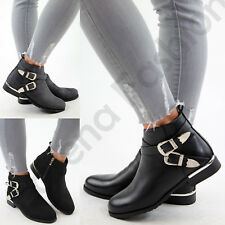 New Womens Ladies Flat Ankle Boots Casual Buckle Side Zip Comfy Low Heel Shoes