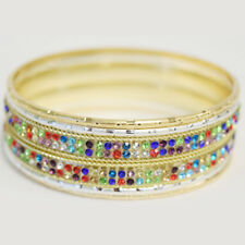 Mica - 6 pcs set of multi colored cz and gold and silver filled bangles