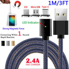 1M/3FT 2.4A Magnetic USB Type C/IOS/Android Adapter Charging Charger Data Cable
