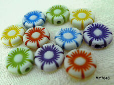 10mm 100pcs ASSORTED COLORS FROSTED ACRYLIC FLOWER BEAD MY7043