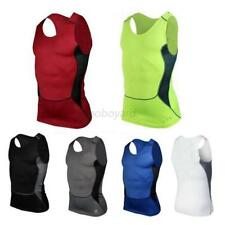 USA Mens Compression Base Layer Tops Sleeveless Gym Running Sports Shirt Vest