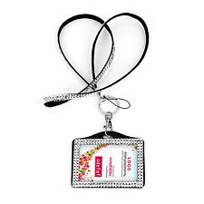 STUDENT PORTABLE BLING RHINESTONE CRYSTAL LANYARD ID BADGE HOLDER PHOTO ID CARD
