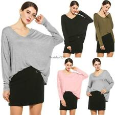 Women Casual Loose V-Neck Batwing Long Sleeve Solid T-Shirt Top BTL8