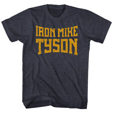 Mike Tyson Mens New Boxing T-Shirt IRON MIKE in NAVY HEATHER  Sizes SM - 2XL