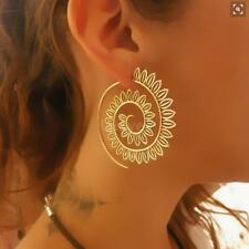 Vintage Plated Circles Round Spiral Heart Water-drop Shaped Dangle Earrings T2F8