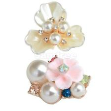 10pc Pearl Flower Rhinestone Buttons Flatback Embellishment DIY Hair Accessories