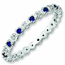 Sapphire and Diamond Eternity Band Sterling Silver Stackable Ring