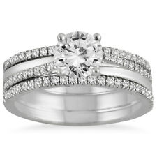 AGS Certified 1 2/5 CTW Diamond Three Piece Bridal Set in 14K White Gold