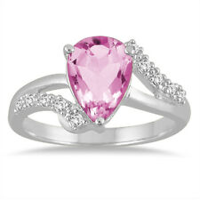 2 Carat Pear Shape Pink Topaz and Diamond Ring in 10K White Gold