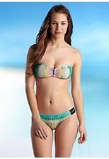 NWT $84 Hurley Stagger 2 PC Bandeau Hipster Bikini Swim Swimsuit M OR  L NEW