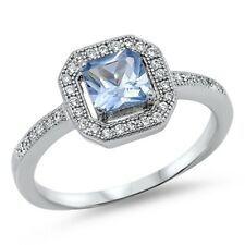 Sterling Silver 925 Princess Cut Aquamarine CZ Engagement Promise Ring Size 5-9