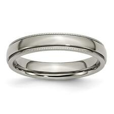 Chisel Titanium Grooved and Beaded Edge 4mm Polished Band Ring TB131