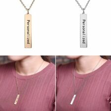 Fashion Stainless Steel DIY Custom Bar Pendant Necklace Jewelry Gift For Lover