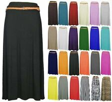 New Womens Ladies Gypsy Long Belted Modest Maxi Dress Jersey Skirt Small-4XL