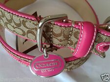 NEW COACH PINK CHARM WITH  CLASSIC SIGNATURE SMALL DOG COLLAR S
