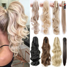 Real Claw On Natural Ponytail Clip In Hair Extensions Long Straigt Curly Wavy AP