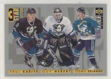 1996 Upper Deck Collector's Choice 309 Paul Kariya Guy Hebert Teemu Selanne Card