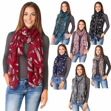 Women Ladies Feather Print Soft Long Thin Neck Scarf Scarves Wrap Stole Shawl