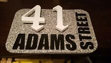 """8 x 12"""" GRAY SPECKLED GRANITE SOLID SURFACE ADDRESS PLAQUE"""