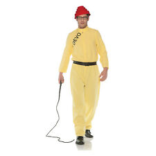 Mens DEVO Whip It Music Video Jumpsuit Coverall Yellow 80's Costume Halloween