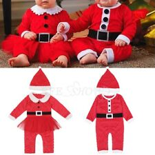Baby Santa Claus Costume Outfit Girls Boys Long Sleeve Chirstmas Romper with Hat