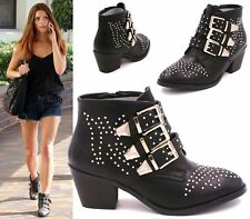 Womens Ladies Black Cowboy Studded Ankle Boots Low Heel Buckle Shoes Size 3-8