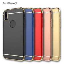 Shockproof Luxury 3 in1 Electroplated Matte Case Shell Slim Cover For iPhone X
