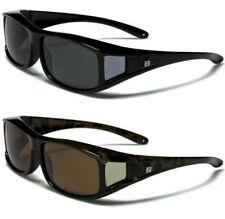 NEW BLACK SUNGLASSES MENS LADIES POLARIZED UV400 FIT OVER WRAP DRIVING GLASSES