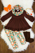 Girls Boutique 3 Piece Fall Harvest Thanksgiving Top + Leggings Outfit Scarf Set