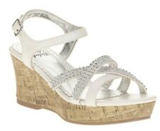 Faded Glory Youth Girls White Bling Wedge Sandals Size 13 - NWT