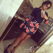 Women Long Sleeve Bodycon One-piece Dress Casual Party Floral Mini Dress hot