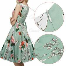Womens 1950s Swing Flared Dress Vintage Cocktail Evening Party Pinup Long Dress