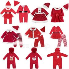 Christmas Baby Girl Boy Santa Costume Xmas Party Kids Dress Romper Pants Outfits