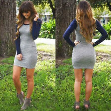 Spring Summer  Women Dress Knit Long Sleeves Sexy Tight Package Hip mini Dress