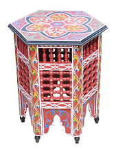 Moroccan Table Zouak Moucharaby Fretwork Hand painted Burgundy (ZT207)