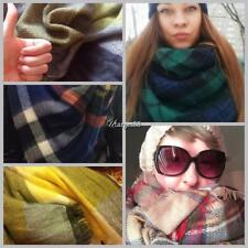 Women Square Multifunction Plaid Blanket Scarf Checked Wrap Shawl Winter UTAR