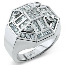 Men's Ring .925 Sterling Silver Octagon Ring 52 Round Square & Baguette CZ Stone