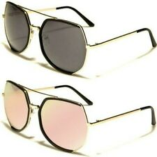 NEW SUNGLASSES LADIES WOMENS DESIGNER LARGE METAL MIRRORED AVIATOR RETRO VINTAGE