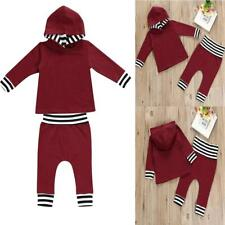 2pc Kid Newborn Baby Girl Hoodie Outerwear Top+Pants Clothes Striped Outfits Set