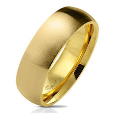 Dome Ring Made of Stainless Steel in Gold Matt and Polished Different Sizes
