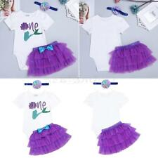 3Pcs Baby Infant Girls One Year Birthday Romper Tutu Dress Party Mermaid Clothes