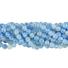 Blue Flower Synthetic Resin Amber Round Jewelry DIY Loose Beads Strand 10mm 12mm