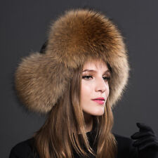 Womens Ladies Real Fox Fur Hat Russian Ushanka Lamb  Warm Winter