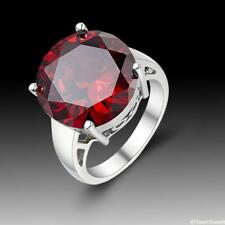 New Simple Fashion Jewelry Circular Garnet 925 Sterling Silver Ring size 7 8 9