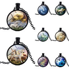 Unicorn Cabochon Glass Pendant Necklace Unisex Sweater Chain Jewelry Exquisite
